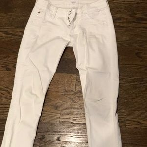 HUDSON white skinny jeans with back flap pocket